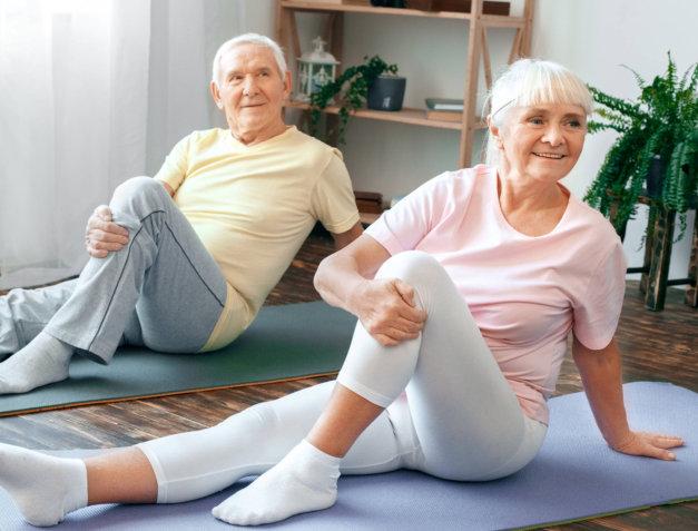 senior couple doing their exercise